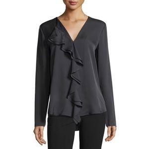 Theory | Jastrid Gray Long Sleeve Silk Blouse S